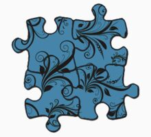 Puzzle Baroque Antique Damask Blue, Black by sitnica