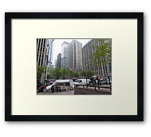 NYC Street with a Splash of Green amongst the Grey Framed Print