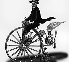 STEAMPUNK PENNY FARTHING BICYCLE (BLACK AND WHITE) by squigglemonkey