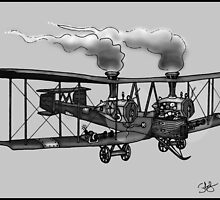 WW1 VICKERS VIMY AEROPLANE BOMBER STEAMPUNK (BLACK AND WHITE) by squigglemonkey