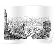 The ramparts of Terrasson - Black ink drawing Poster