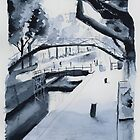 Le canal Saint-Martin - Watercolor by nicolasjolly
