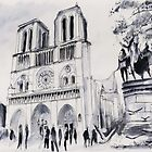 Le parvis de notre-Dame - Paris - Watercolor by nicolasjolly