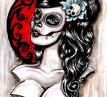 Blue - Day of the dead pinup tattoo by Isobel Von Finklestein