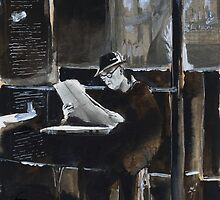 The old man with newspaper - Watercolor by nicolasjolly