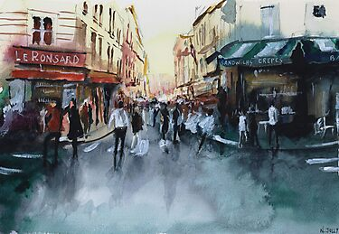 The crowd - Watercolor by nicolasjolly