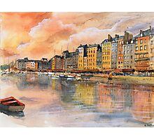 Sunset over Honfleur - Watercolor Photographic Print