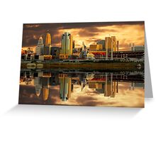 Cincinnati  Queen City gold glow Reflections Greeting Card