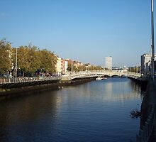 View from Half-Penny Bridge in Dublin by CadburyKeepsake