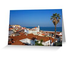 Lisbon Alfama Panoramic View Toward the River Greeting Card