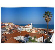 Lisbon Alfama Panoramic View Toward the River Poster