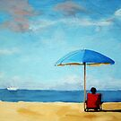 Special Moments - beach scene original oil painting by LindaAppleArt