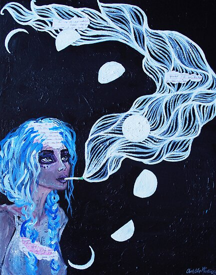 Original Acrylic Painting (It Must Be The Moon) by Christina Martine