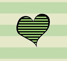 Artistic Retro Heart Stripes Lines Green Black by sitnica