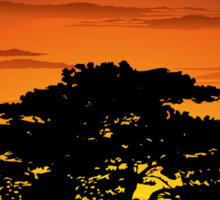 Wild Animals on African Savannah Sunset  Sticker