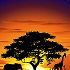Wild Animals on African Savannah Sunset  by BluedarkArt