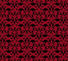 Victorian Damask, Ornaments, Swirls - Red Black by sitnica