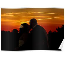 Bride an Groom romantic sunset  Poster