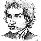 Bob Dylan Sketch Portrait by JohnnyGolden