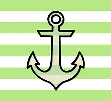 Naval Anchor and Stripes - Black, Green by sitnica