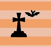 Halloween Bat Tombstone Stripes Black Orange by sitnica