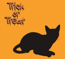 Halloween Cat Trick or Treat Black Orange by sitnica