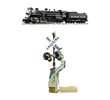 A Southern Pacific Steam Locomotive & Signals Photographic Print