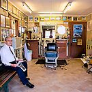 Old Time Barber in Old Time Shop by Bonnie T.  Barry