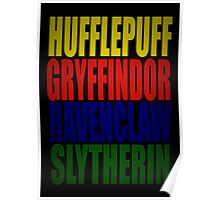Hogwarts Houses Typography Poster