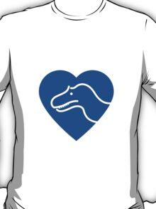 Dinosaur heart: Torvosaurus (Blue on white) T-Shirt