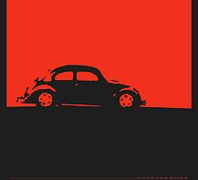 Volkswagen Beetle - Red on dark by uncannydrive