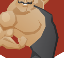 Smiling strong man lift a barbell Sticker