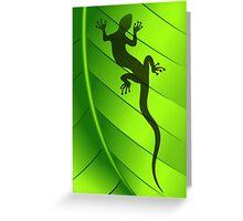 Lizard Gecko Shape on Green Leaf Greeting Card