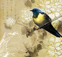 Blue Yellow Thrush Bird - Chinese Painting Art by scottorz