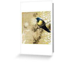 Blue Yellow Thrush Bird - Chinese Painting Art Greeting Card