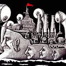 Revolutionary Ship ink pen drawing on paper by Vitaliy Gonikman
