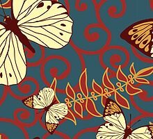 Butterflies Wings Insects Swirls Red Blue Brown by sitnica