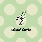 Drawn Cartoon Sheep Love Hearts Green, Black by sitnica