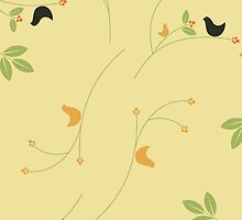 Silhouette Birds Leaves Berries Green Black Yellow by sitnica