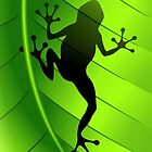 Frog Shape on Green Leaf by BluedarkArt