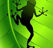 Frog Shape on Green Leaf by BluedarkArt