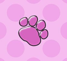Plastic Dog Paws Traces Pawprints Pink, Black by sitnica