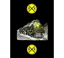 Steam Locomotive & Railroad Crossing Signs Photographic Print