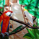 Birds of a feather - Scarlet Macaw Acrylic fine art painting by Rick Short