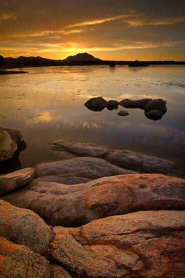 Sunset on the Rocks by Bob Larson