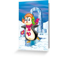 penguin on the skates Greeting Card