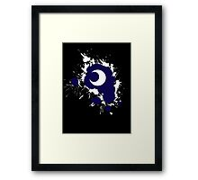 Lunar Splat (white paint, black background) Framed Print