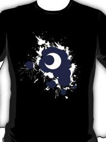 Lunar Splat (white paint, black background) T-Shirt
