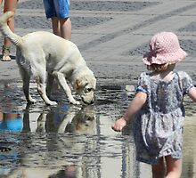 White Dog and Toddler by ivDAnu