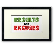 Results or Excuses | Fitness Slogan | Retro Framed Print